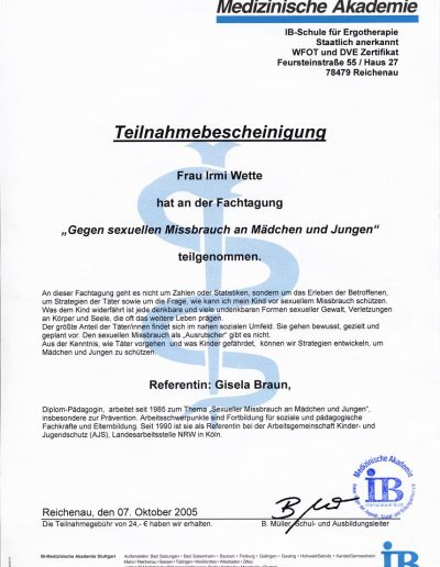 Teilnahmebescheinigung Medizinische Akademie